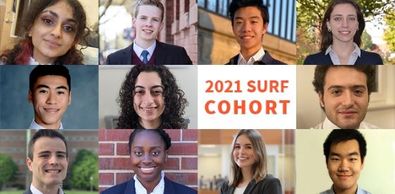 2021 SURF Cohort with headshots of the 11 students